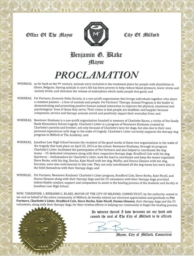 Milford Proclamation 07JULY2014